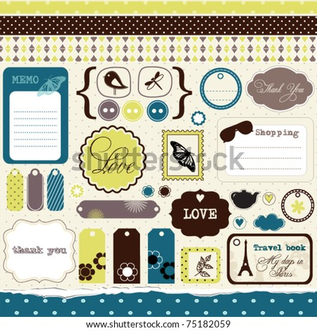 Set of elements for scrap-booking - stock vector