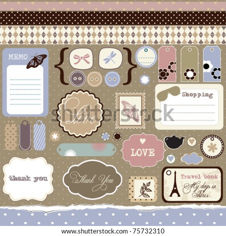 Set of elements for scrap-booking, vintage style - stock vector