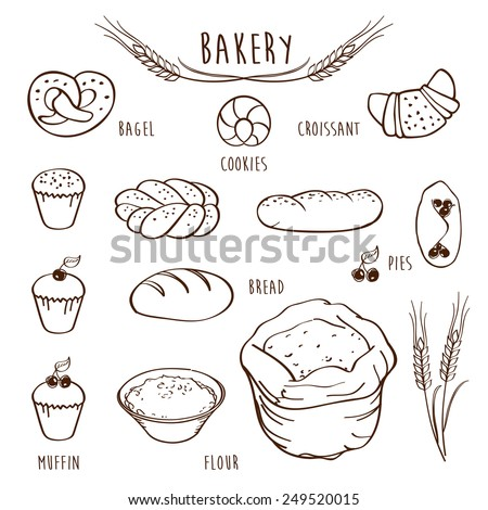 Set of elements for the bakery. Bakery menu. Sketch, design elements, hand drawn. Vector illustration.