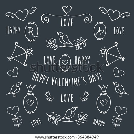 Set of elements for Valentine's Day. Greeting card. Congratulation. Frames, hearts, crowns, birds are drawn with chalk on black chalkboard. Hand drawing sketches. Doodles. Vector. - stock vector