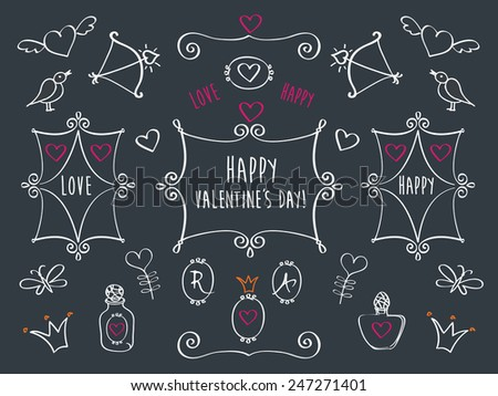 Set of elements for Valentine's Day, wedding. Frames, hearts, crowns, birds are drawn with chalk on black chalkboard. Hand drawing sketches. Doodles. Vector. - stock vector