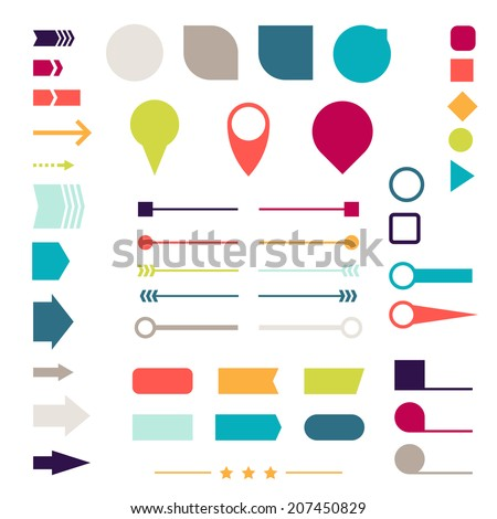 Set of elements, markers, arrows and dividers for design. - stock vector
