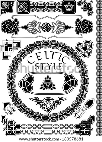 Set of elements of design in Celtic style - a vector - stock vector