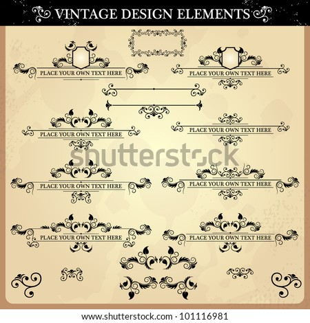 Set of elements of design in style a vintage. Vector illustration - stock vector