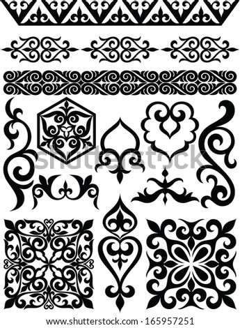 Set of elements of oriental ornament. - stock vector