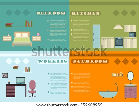 Set of elements to Interior design infographics.Design conceptual backgrounds with icons and infographic elements. Flat vector illustration.  - stock vector