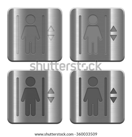 Set of elevator buttons vector in brushed metal style. - stock vector
