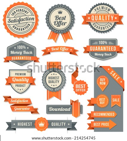 Set of eleven Orange and Black vector Commercial Labels and Ribbon templates and web elements. Vector file is organized in layers to separate Graphic elements from Text and Shadows.
