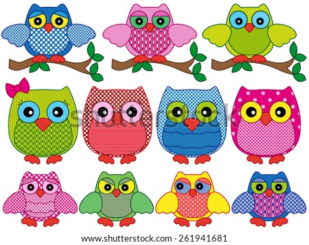 Set of eleven ornamental cartoon vector owls with various characters isolated on white background - stock vector