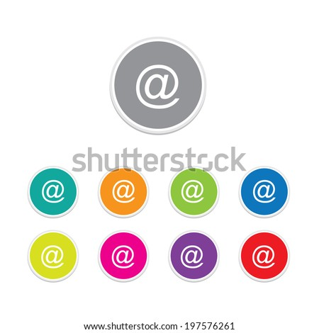 Set of Email circular icon on white background