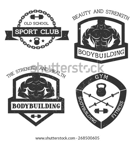 Set of emblem bodybuilding and fitness. Vector illustration. - stock vector