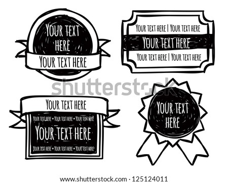 set of emblem in doodle style - stock vector