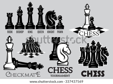 Set of emblems and signs for the chess tournament - stock vector