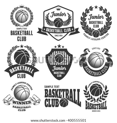 Set of Emblems, Logos and Labels on Basketball Theme and for Basketball Club. Vector Illustration. Isolated on White Background. - stock vector
