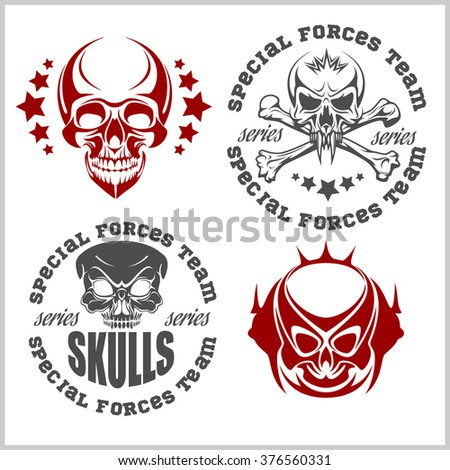 Set of emblems with skulls - vector designs