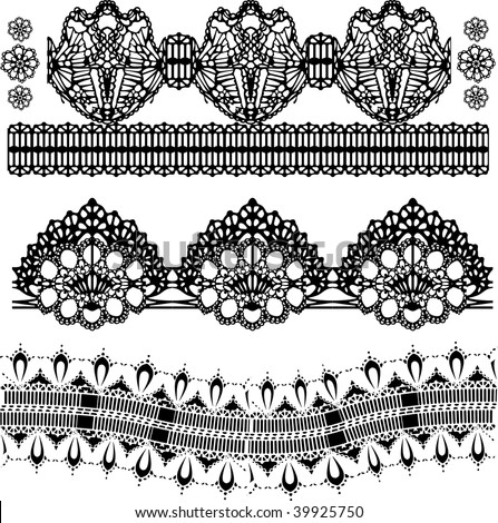 set of embroidered lace design in vector format very easy to edit, individual objects - stock vector