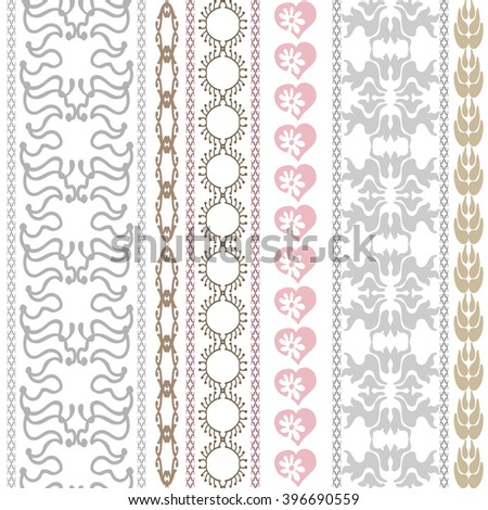 Set of embroidery borders with bohemian motifs. Hand drawn seamless scroll pattern, hearts, damask borders, geometric stripes. Vintage textile collection. Golden, silver shadows on white.  - stock vector