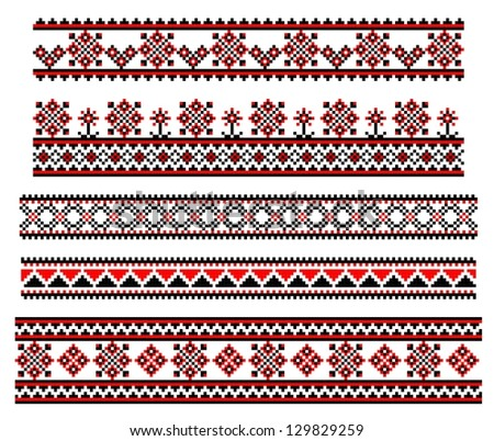 Set of embroidery lines - stock vector