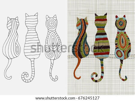 Set Embroidery Patterns Cats Zentangle Style Stock Vector Hd