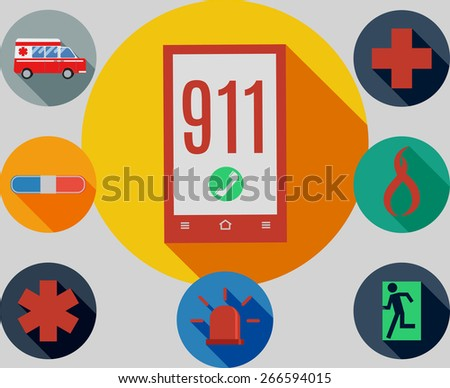 set of emergency 911 icons - stock vector
