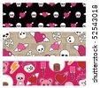set of emo banners with skulls and hearts - stock vector