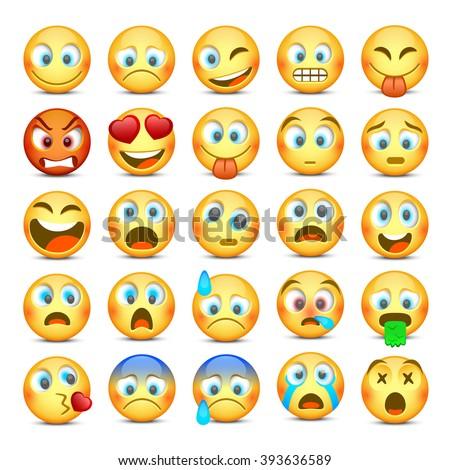 Set of Emoji. Collection template design element, Vector illustration - stock vector
