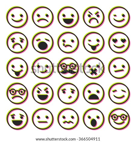 Set of emoticons, characters icons