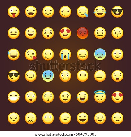 Set of emoticons, emoji isolated on brown background, vector illustration.