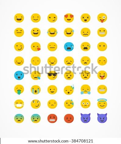 Set of emoticons, emoji isolated on white background, vector illustration - stock vector