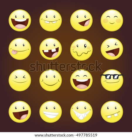 Set of emoticons, emoji isolated, vector illustration.