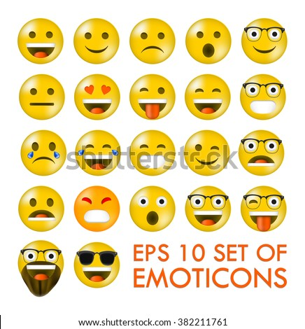 Set of Emoticons or Emoji. Isolated - Parts of emoji are grupped so you can easly change combinations in vector program - eps 10 vector illustration - stock vector