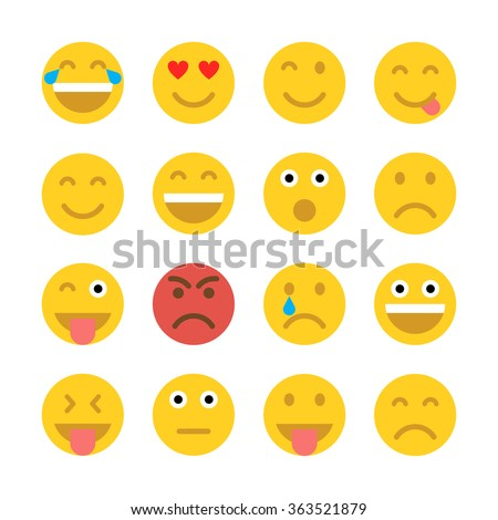 Set of Emoticons. Set of Emoji. Flat style illustrations  - stock vector