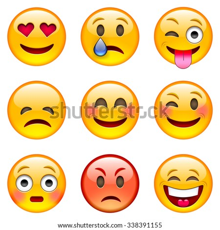 Set of Emoticons. Set of Emoji. Isolated vector illustration on white background - stock vector