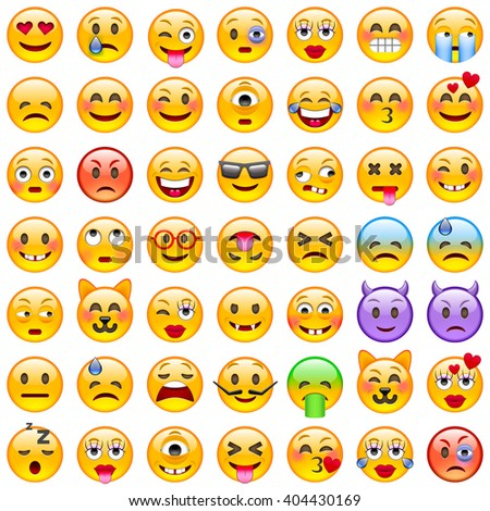 Set of Emoticons. Set of Emoji. Smile icons. Isolated vector illustration on white background - stock vector