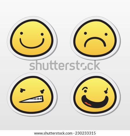 Set of emoticons with different expressions - stock vector