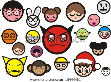 set of emotional face - stock vector