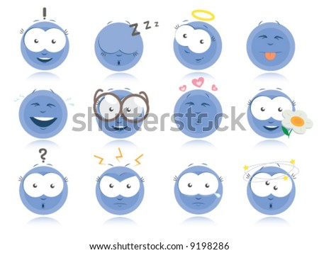 Set of emotions icons - blue smilies