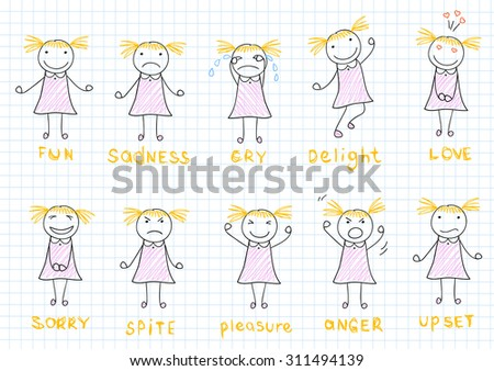 Set of emotions of a little girl. Sketch on notebook page - stock vector