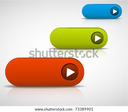 set of empty buttons - red, green and blue - stock vector