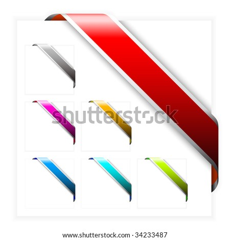 Set of Empty colorful corner ribbons with white stripes - you can write some text on it (sale, new, sold, free, hot, etc) - stock vector