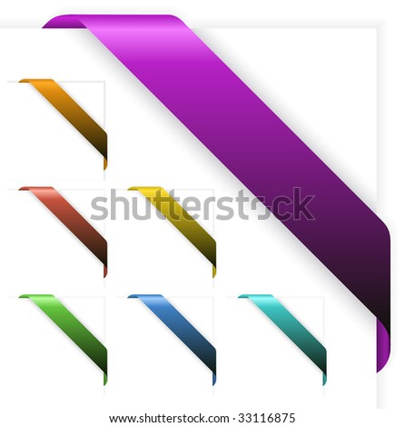 Set of Empty colorful corner ribbons - you can write some text on it (sale, new, sold, free, hot, etc) - stock vector