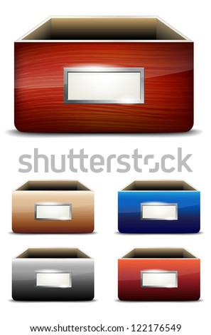 Set of empty drawers with label - vector illustration - stock vector