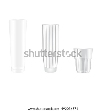 Set of empty glasses of water a smoothie drinks cocktails isolated on white background for your advertising beverage products in cafes and restaurants