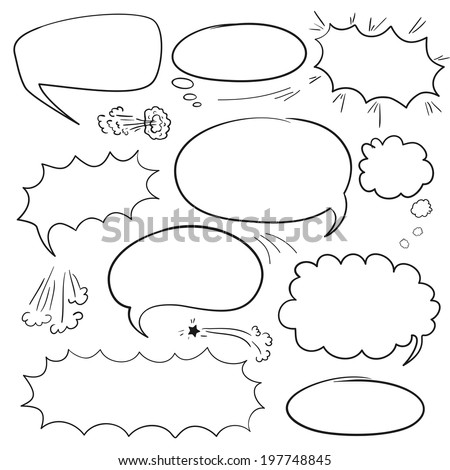 Set of empty graphic black and white comics speech bubbles, vector templates for your text - stock vector