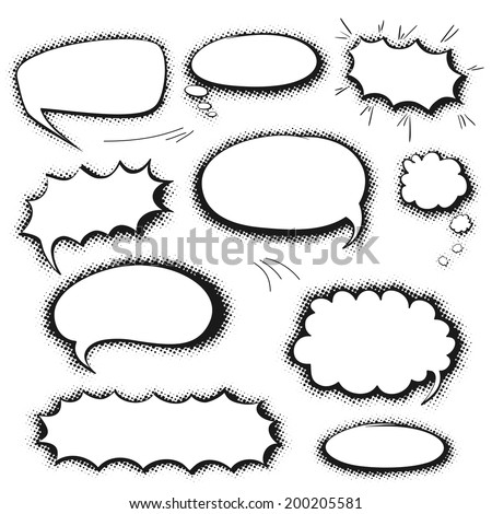 Set of empty graphic black and white comics speech bubbles, vector templates for your text with shadow halftone on white background - stock vector