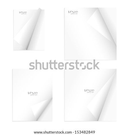 Set of empty notebook paper with curled corners - Vector illustration - stock vector