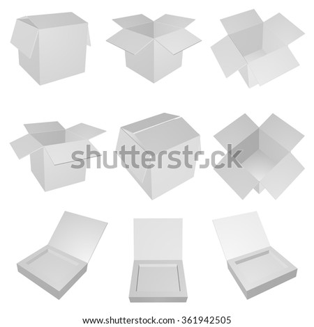 Set of empty open gray boxes. Vector box for your design. - stock vector