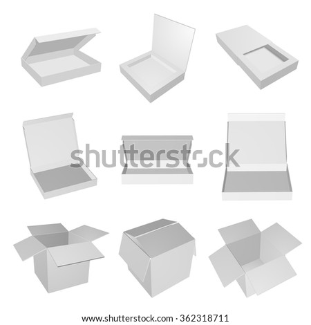 Set of empty open gray boxes. Vector box for your design.