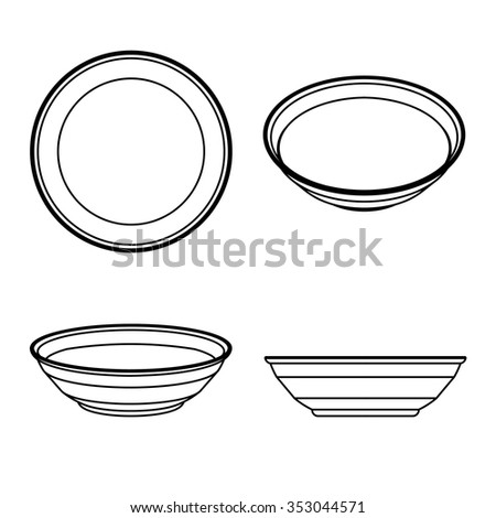 Set of empty plate on the white background. Vector Illustration. - stock vector