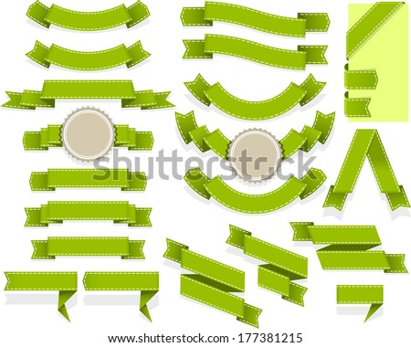 Set of empty ribbons and banners of different shape - stock vector